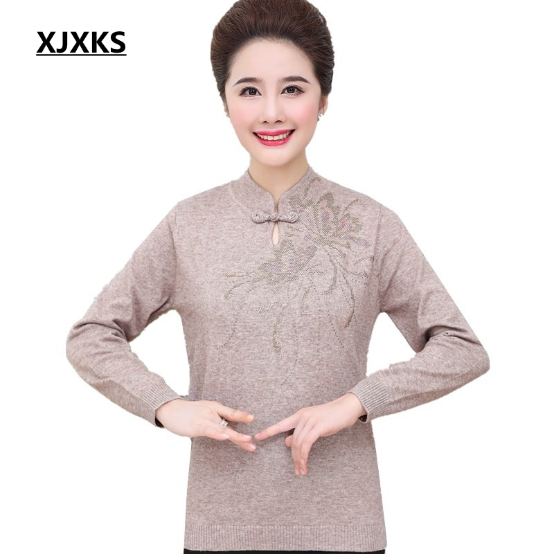 XJXKS Chinese style mandarin collar women pullover sweater comfortable knit wear 2019 new selling woman knitted sweater