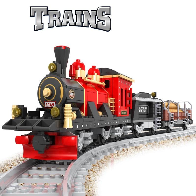 410pcs Steam Train Building Blocks Retro train Kids Educational Model Bricks Toy brinquedos leping<br><br>Aliexpress