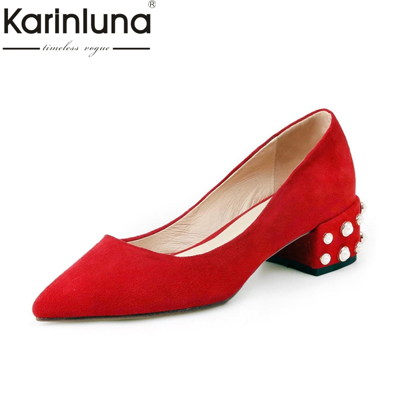 Karinluna 2018 Spring Autumn Elegant Beading Natural Kid Suede Pumps Sexy Pointed Toe Shallow Shoes Woman Big Size Low Heels<br>