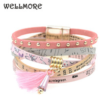 Buy pink leather bracelet women charm bracelets 2016 BOHO style Bohemian bracelets&bangles gift bracelets women manchette for $4.16 in AliExpress store