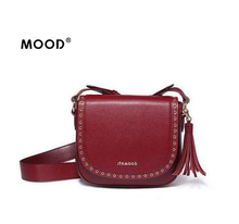 MOOD tassel bag New retro wide straps saddle leather female semicircle rivets shoulder aslant bag send Courier free of charge(China)