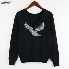 S-XL 2017 Spring New Fashion Women Sweaters Full Sleeve V-Neck Beaded Eagle Diamond Pullovers Computer Knitted Pageant(China)