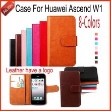 AiLiShi Hot Sale Fashion Leather Case For Huawei Ascend W1 Case PU Flip 8-Colors New Arrive Wallet Protective Cover Skin Factory(China)