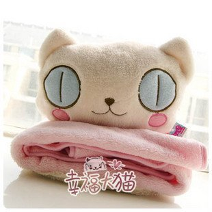 Candice guo! Hot sale dual purpose cartoon plush cat kitty cushion air-condition blanket Christmas gift 1pc<br><br>Aliexpress