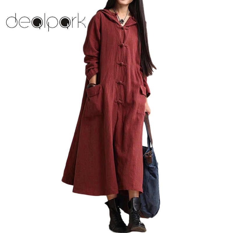 3XL 4XL 5XL Плюс Размер Хлопковое платье женское более размер с капюшоном  Винтаж длинный халат платье 3e19f025c00c0