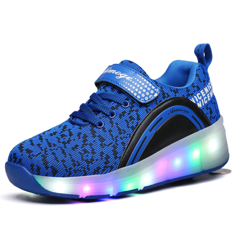 Girls Boys Shoes Sneakers with Wheels Jazzy Junior Child LED Light Roller Skate Shoes Kid glowing Sneakers Zapatillas Con Ruedas<br>