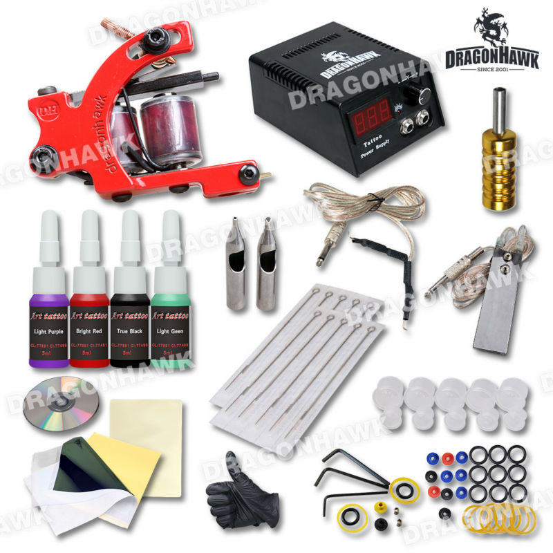 Hot Selling Tattoo Set Red Color Machine Guns Power Pigment Tattoo Kits Supply  <br>