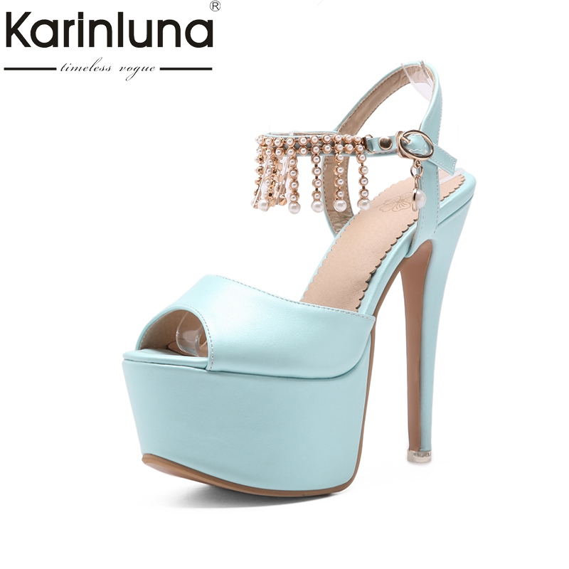 KarinLuna 2018 genuine leather large size 33-48 buckle strap thin high Heels peep toe shoes woman platform Party wedding Pump<br>