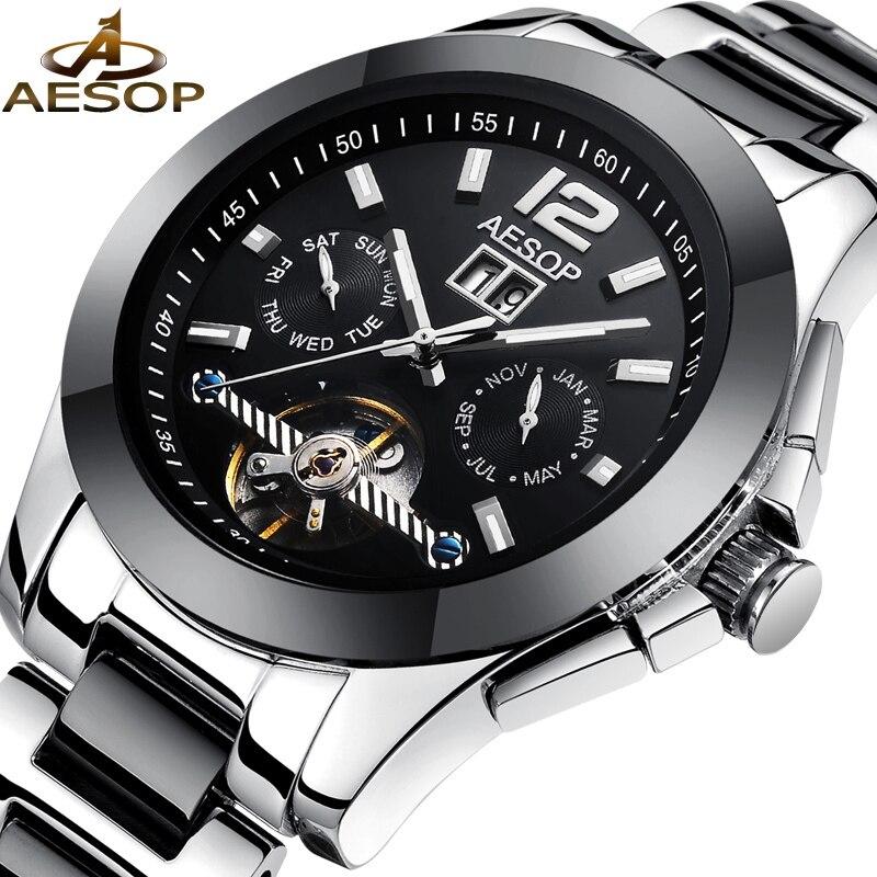 AESOP Fashion Men Watch Men Ceramic Automatic Mechanical Wrist Wristwatch Sapphire Crystal Black Male Clock Relogio Masculino 46<br>