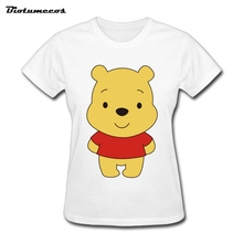 2017 Women T Shirts kawaii Short Sleeve 100% Cotton Winnie The Pooh Image Printed T-shirt Brand Clothing Top Tees WTM060