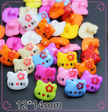 100PCS Cute Mix Colors Hello Kitty plastic cartoon buttons 1 hole Sewing children Buttons,free shipping(China)