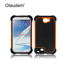 Mobile Phone Case Hard Armor TPU + PC Hybrid Silicone Back Cover Rubber Protective Bag For Samsung Galaxy Note 2 N7100  MC076