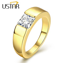USTAR Square zirconia crystals MEN Rings Jewelry Yellow gold color finger wedding ring male anel party Christmas s top quality