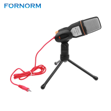 FORNORM Professional 3.5mm Stereo Condenser Tripod Clip Microphone  for Video Recording for Skype MSN Chatting Singing Karaoke