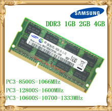 Samsung Laptop memory DDR3 4GB 2GB 1GB 1066 1333 1600 MHz PC3-10600 8500 12800 notebook RAM 10600S 2G 4G(China)