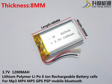 Liter energy battery 3.7V lithium polymer battery 803048 1200MAH GPS navigator PSP game sound card