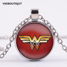 3/Color Wonder Woman Necklace Wonder Woman Jewelry super hero Pendant Glass Dome Pendant Necklace