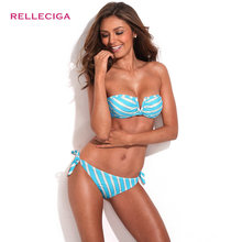 "2016 Women Swimsuit Bikini Metallic Stripe Full-Lined Bandeau Bikini Set with Front ""V"" Swimwear for Women"