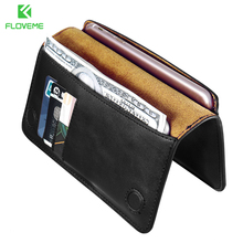 FLOVEME Genuine Leather Case For iPhone 7 6 6S Plus For Samsung S6 S7 edge Huawei P9 P10 Plus Xiaomi Capa Flip Wallet Cover Bag(China)