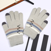 2017 Guantes Eldiven Adult Knitted Gloves Wholesale Factory Direct Selling New Fashion Winter Color Stripe Gloves, Warm Custom(China)