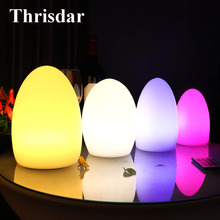 Thrisdar IP68 USB Rechargeable Egg Shape LED Night Light 16 Color Garden Landscape Light Patio Pathway Table Night Lamp(China)