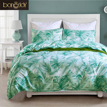 Bonenjoy Big Green Leaf Queen Duvet Cover jogo de cama King Size Bedclothes ropa de cama Bed Linen Set with Pillowcase Beddings(China)