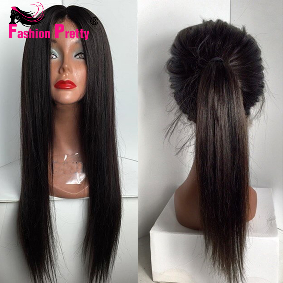 Long Straight Lace Front Human Hair Wigs 100% Virgin Brazilian Human Hair Glueless Full Lace Wig With Baby Hair For Black Women<br><br>Aliexpress