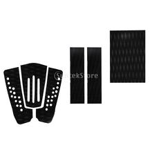 6 Pieces Adhesive Non-slip Black EVA Traction Pad Deck Grip Tail Pads for Surfboard Surf SUP Skimboard Shortboard Longboard