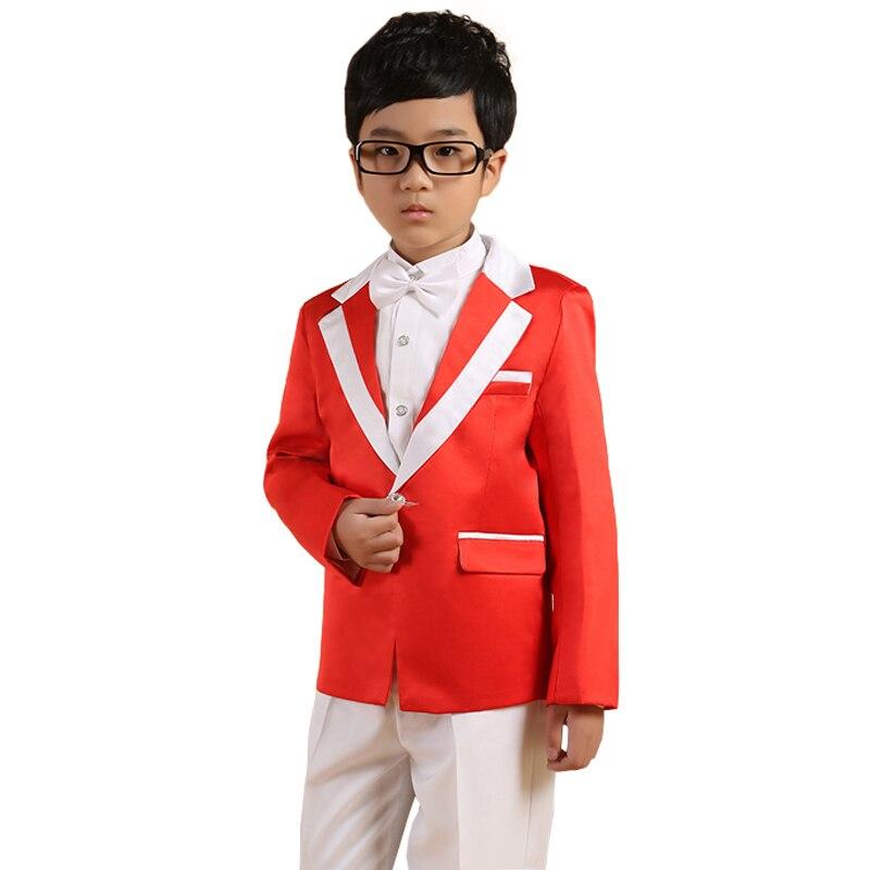 Boys Blazer suit Kids Wedding Tuxedo Suit 5PCS Fall Clothing sets Page boy Outfits Children Dress suit Graduation Terno<br>