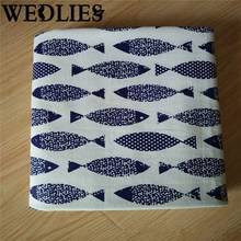 Rectangular Cotton Linen Fish Print Table Runner Blue Table Cloth Cover Roll Home Textiles Home Decorative Crafts Accessories