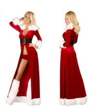 Buy Sexual Christmas Robe Long Cloak Santa Claus Deguisement Adulte Mujer Role-Playing Disfraces Sexy Cotton Christ Costumes T1421