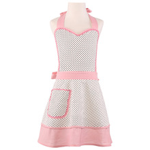 Neoviva Canvas Kids Apron Dress for Play Kitchen, Style Little Zoe, Polka Dots White