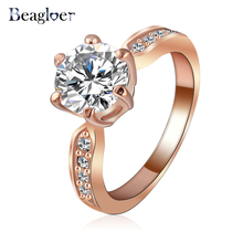 Beagloer Kate Princess Wedding Rings Clear Zircon Womens Fashion Jewellery Ring Ri-HQ1053