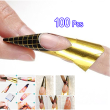 YOST 100 x Golden Nail Art Tips Extension Forms Guide French DIY Tool Acrylic UV Gel