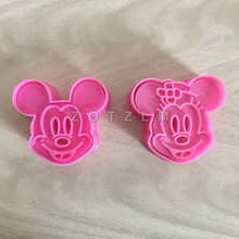 2 pcs/set Cartoon Mouse Mickey Minnie Shaped Plastic Cookie Cutters Pastry Sandwich Fondant Cake Mold Kitchen Accessories SLP024