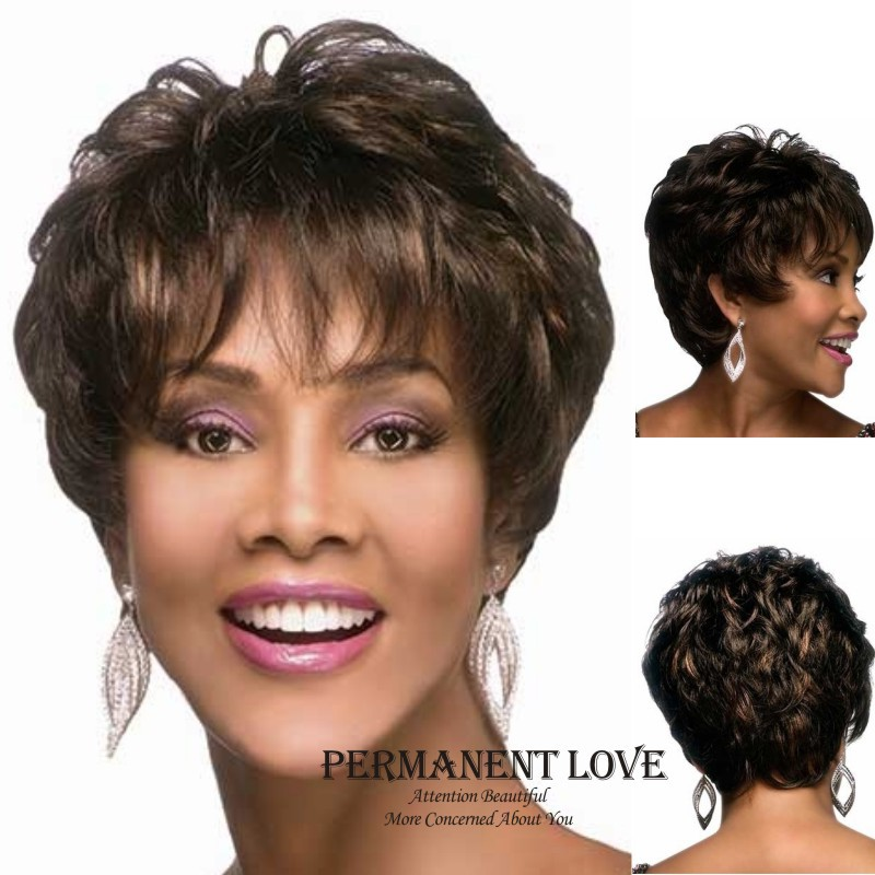 Synthetic Kinky straight short wig for black women Heat Resistant natural black hair wigs with bangs pixie cut hairstyle peluca<br><br>Aliexpress