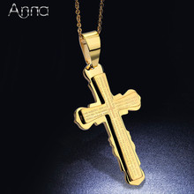 A&N Fashion Hot Unisex Stainless Steel Cross Pendant Necklace Chain Simple Cross Pendant Lord's Prayer Bible Pendants Large Size(China)