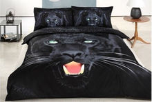 BLACK NEW COTTON 4PC DOONA / DUVET / QUILT COVER SET FULL SIZE glamour panther(China)