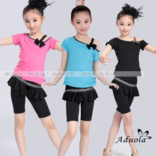 Gymnastics Leotard Vestidos De Renda Children's Latin Dance Wear Short Sleeved Suit Manufacturers Wholesale Printing Culottes(China)