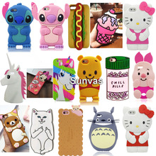 3D Cartoon Ice Cream Stitch Cat Soft Silicone Back Cover For iPhone 4/4s/5/5S/5C/SE/6/6S/6 6s Plus/7/7 Plus Phone Cases Fundas