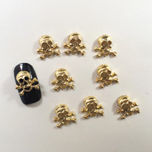 100Pcs/Lot 3D Metal Pirate 3D Nail Art Decorations DIY Nail Accessories Cosplay Supplier for Halloween Party(China)