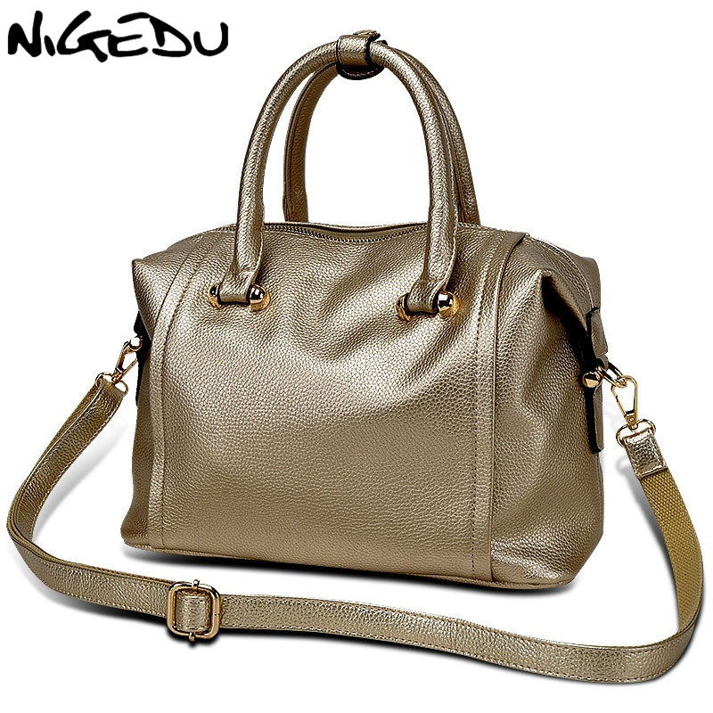 NIGEDU 2017 NEW women handbags High quality pu leather female shoulder messenger bag Office bag Womens Totes Black color golden<br>
