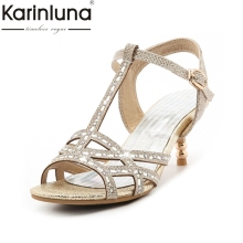 KARINLUNA 2017 Big Size 32-45 t-strap Bling Upper Fashion Women Latin Shoes Elegant Med Heels Wedding Sandals Lady Gold Silver(China)