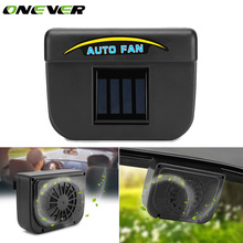 Onever Universal Car Ventilator Fan Solar Powered Auto Cool Vehicle Fan Car Window Cooler Ventilation Fan Air Vent Radiator Fans(China)