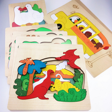 1Set Educational kid's Multi-layer 3D Wooden Dinosaur Dolphin Polar Bear Transport Animals Puzzles Baby Kids Creative Toys Gifts
