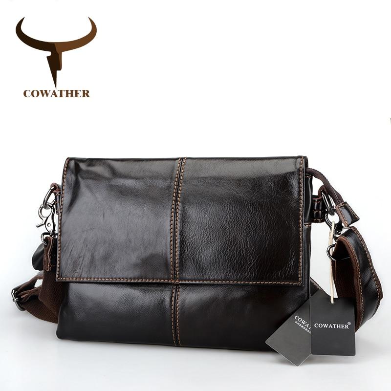 COWATHER Envelope package 2017 cow genuine leather messenger bags for men handbags huge capacity males best  original brand<br>