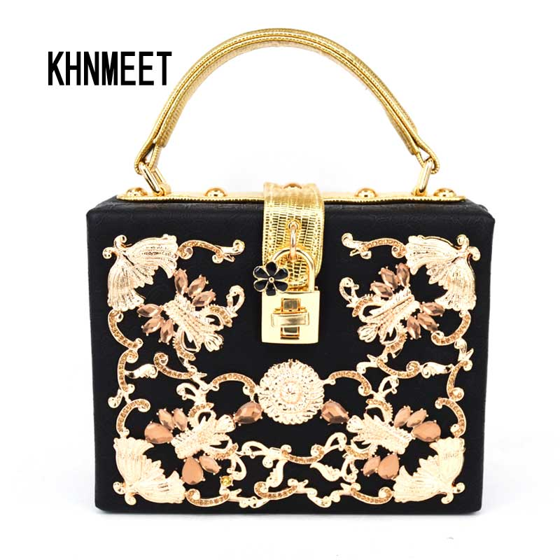 Luxury Crystal Party clutch Evening Bag Magic Box Mini Suitcase lock retro fashion design flap women handbag Black shoulder bag<br>