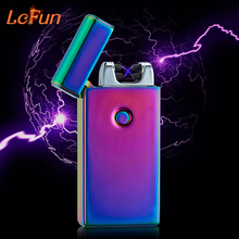 Lcfun Double Fire Cross Arc USB Rechargeable Cigar Lighter Pulse Windproof Electronic Flameless Cigarette Plasma lighters