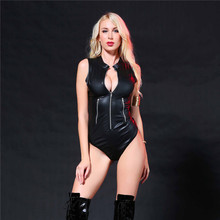 Buy light Stand collar Cardigan zipper triangle Tighten Club erotic bodysuit sexy lingerie porno bodystocking latex catsuit leather