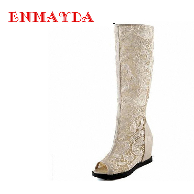ENMAYDA Women Boots Platform Wedges Summer Boots Knee High Summer Sexy Lace High Heels Peep Toe Shoes Fashion Shoes Women<br>